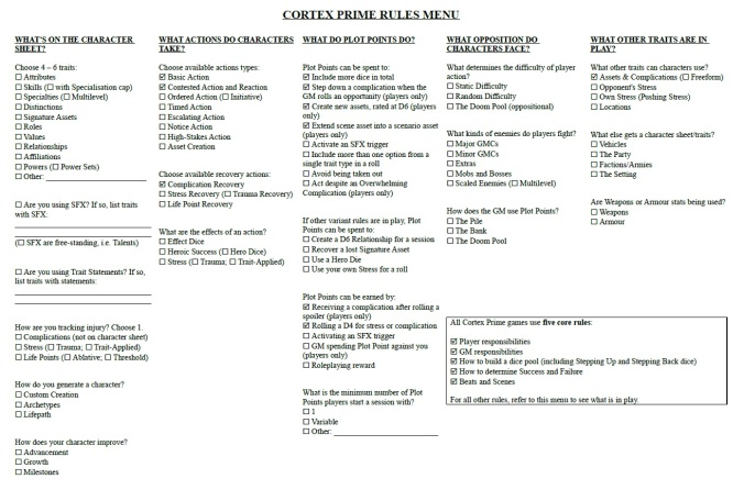 Cortex Prime Rules Menu